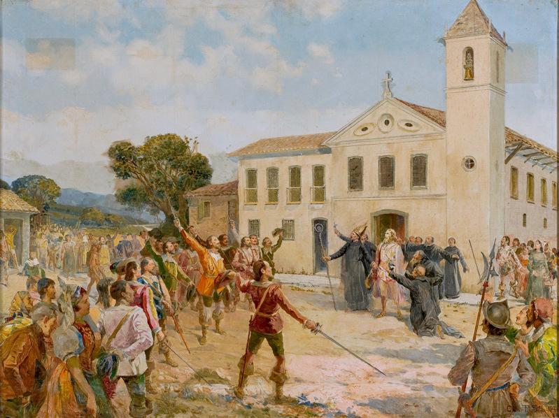 Amador Bueno não aceitando a coroa, foi perseguido pelos paulistas e se refugiou no mosteiro de São Bento, em São Paulo. Quadro de 1931 e de autoria de Oscar Pereira da Silva