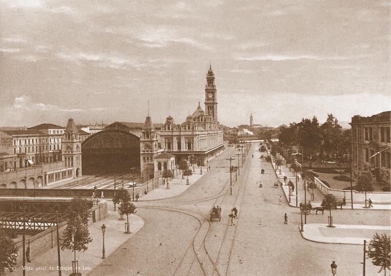Fotografia da Estação da Luz em 1900, feita por Guilherme Gaensly.