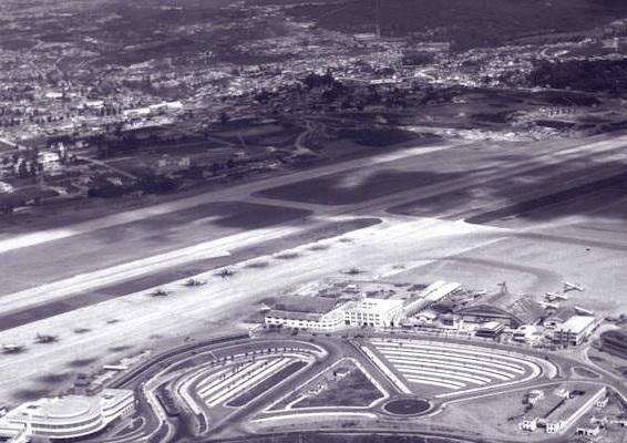Foto aérea histórica Aeroporto de Congonha da década de 1950