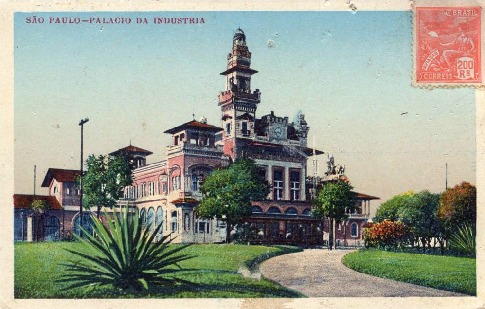 O Palácio das Indústrias em postal colorido dos anos 20 - 30.
