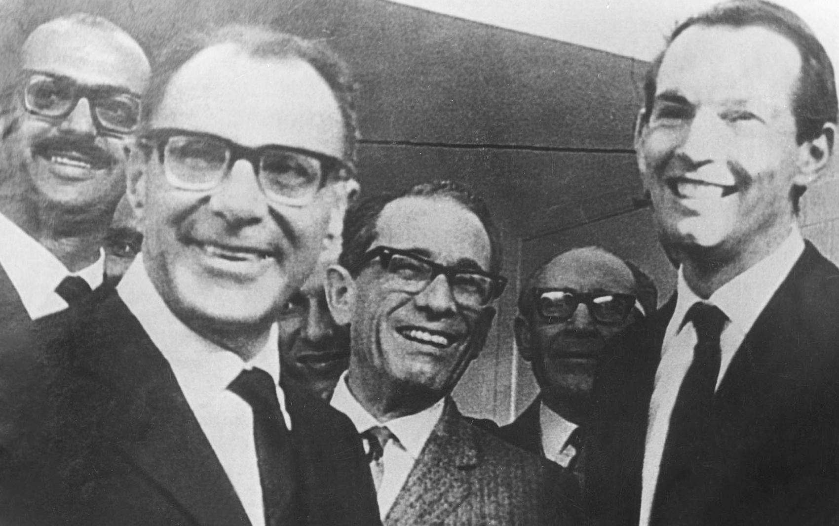 Da esquerda para direita: Adib Jatene, Dante Pazzanese, Euryclides de Jesus Zerbini, Campos Freire e Christiaan Barnard em foto de 25 de setembro de 1968.