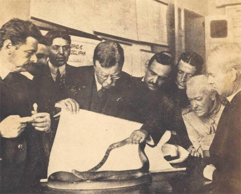O Presidente Theodore Roosevelt (EUA) em visita ao Instituto Butantan, 1913.
