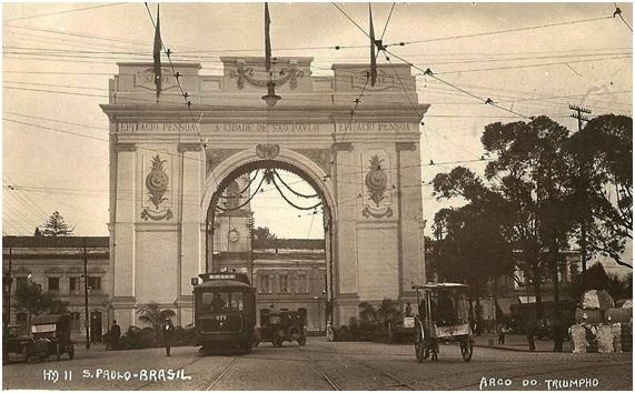 O Arco do Triunfo paulistano em agosto de 1921