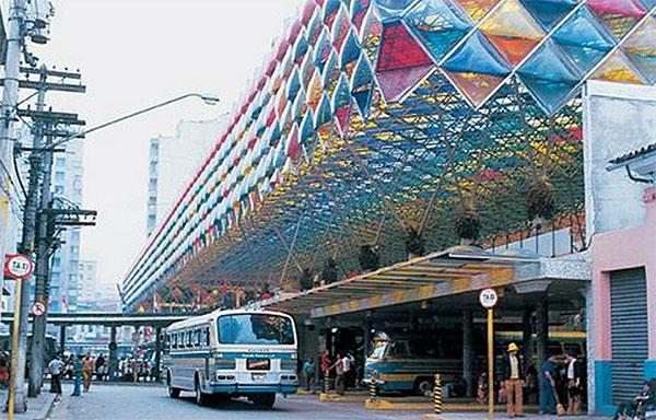 Terminal Rodoviário da Luz em 1973. Também era conhecido como Rodoviária Júlio Prestes