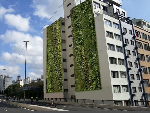 Projeção de como ficará o prédio com os jardins verticais. Crédito: Movimento 90º