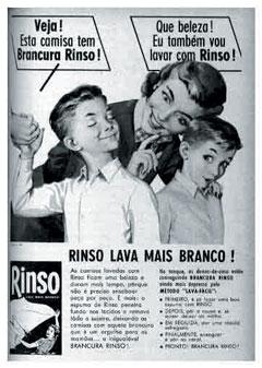 Sabão em Pó Rinso em Propaganda de 1958.