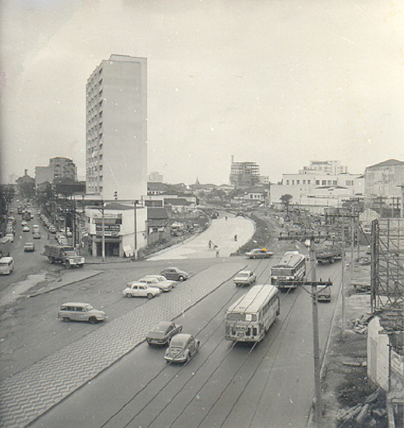 Obras civis da Estação Vila Mariana, na Rua Domingos de Morais com a Noé de Azevedo, em 1970.