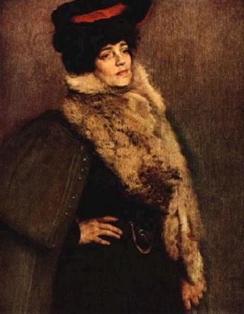 Pintura com o retrato da escultora