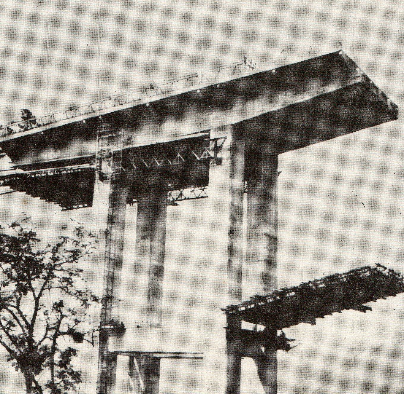 Construção da Rodovia dos Imigrantes na década de 70. Fonte: DERSA.