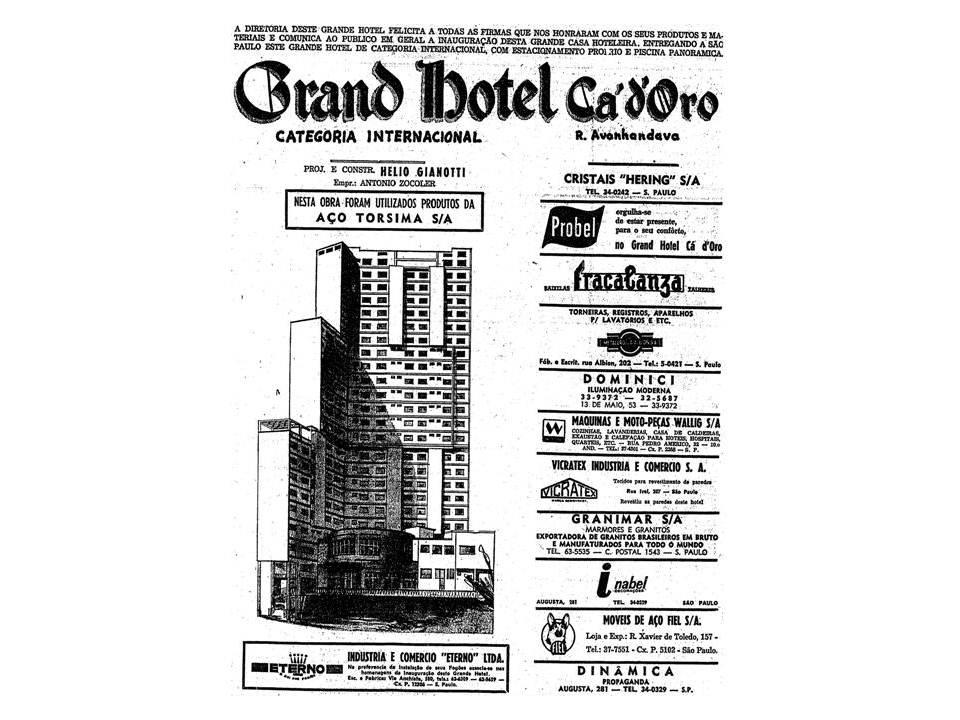 Anúncio do Hotel Ca'd'Oro em 1965