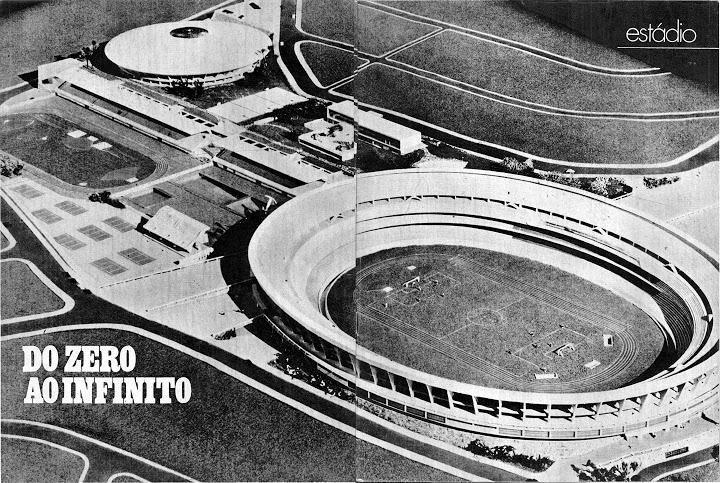 Maquete original para a construção do Morumbi. Imagem de 1971.