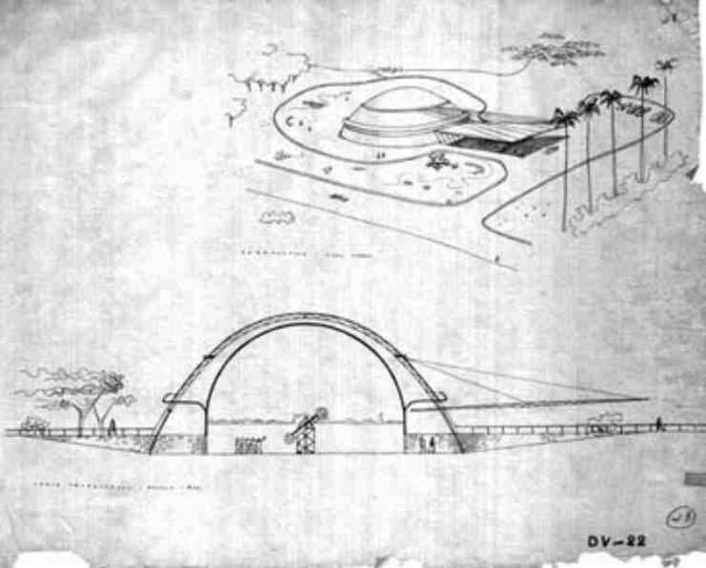 Desenho Original do Planetário de São Paulo, o primeiro do Brasil.