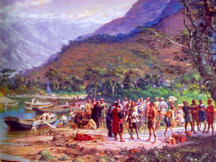 João Ramalho aponta o caminho de Piratininga a Martim Afonso de Souza. Quadro de Benedicto Calixto