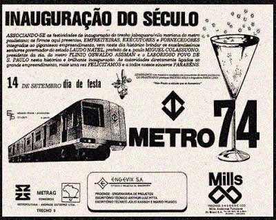 Inauguração da Primeira Linha do Metrô em 14 de setembro de 74.
