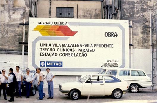 Outdoor marcando inicio das obras da Linha 2-Verde em 1987.