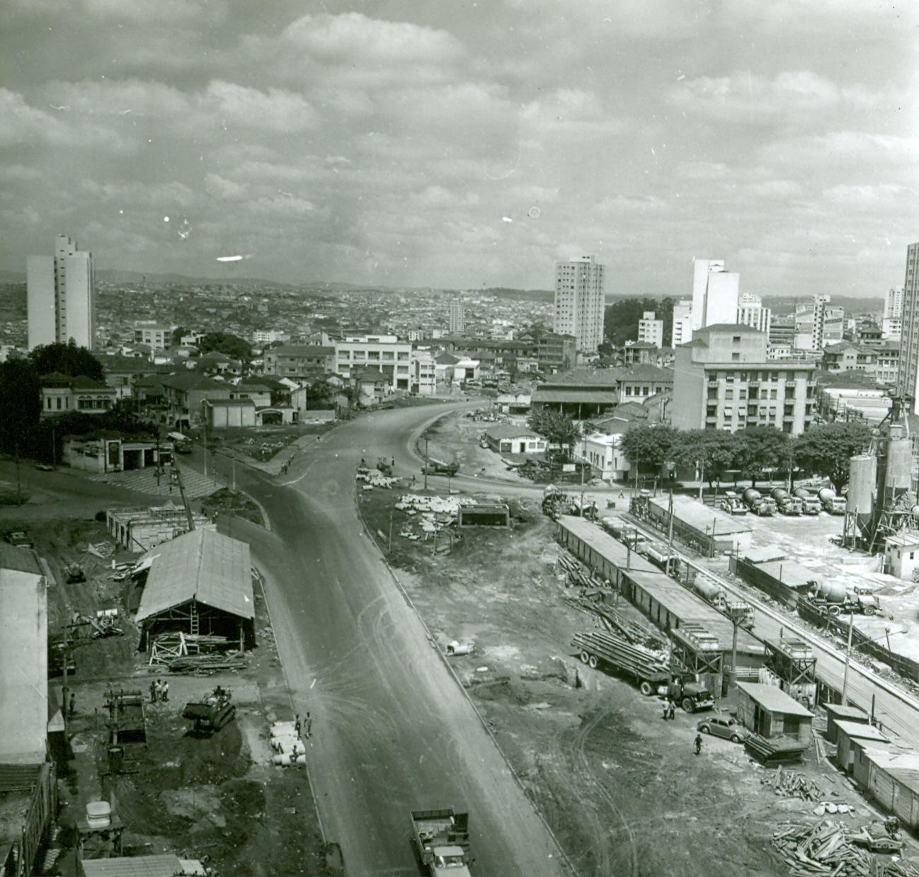 Vista aérea das obras do metrô. Local desconhecido