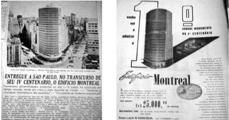 Recortes do jornal Folha da Manhã com destaque para a construção do Montreal